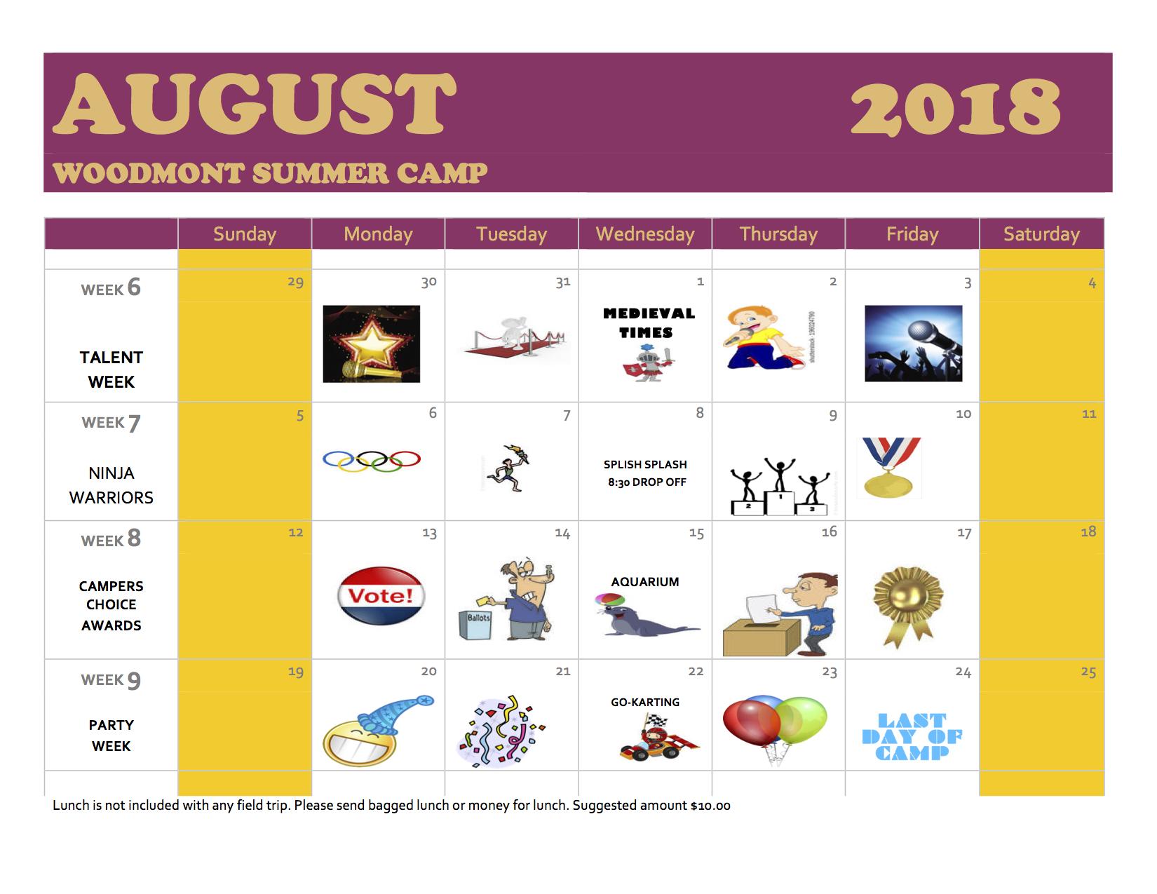 2018 calendar august ny