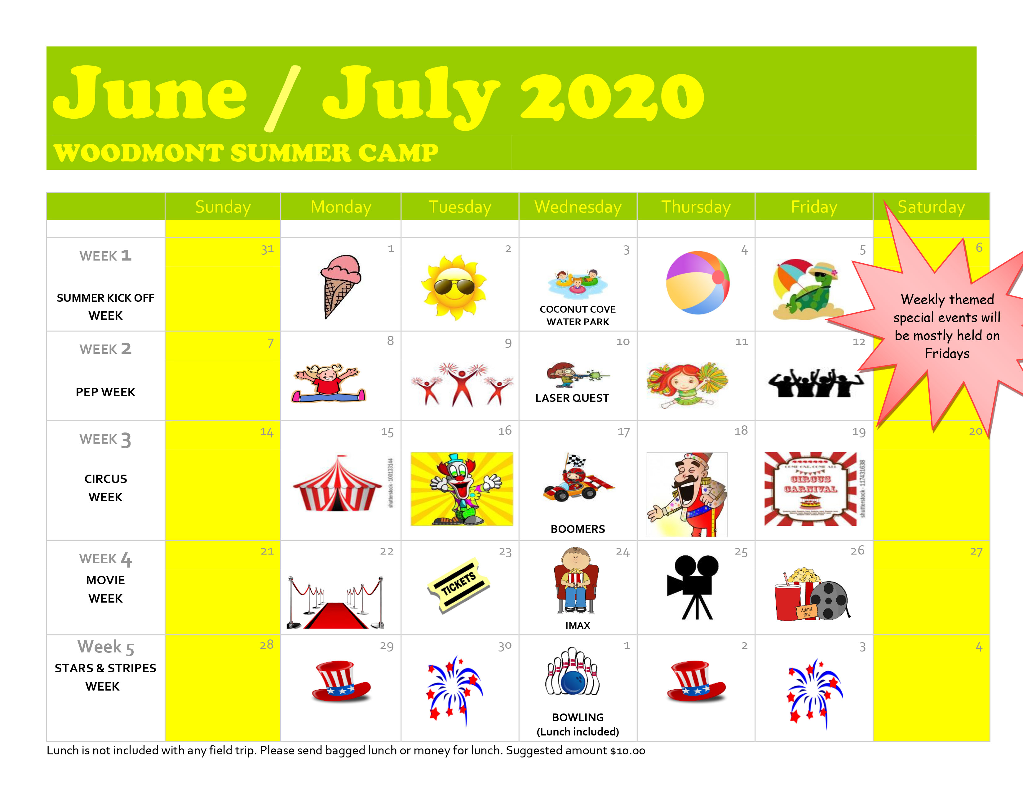 june - july calendar