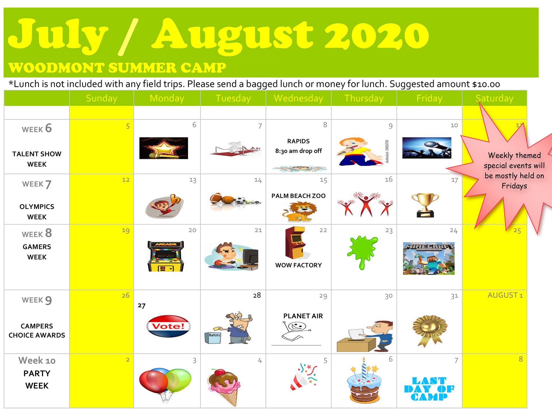 july - aug calendar